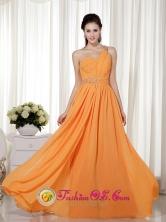 Stylish Orange Red Column  Sheath One Shoulder Floor-length Chiffon Beading Dama  Dress for  Formal Evening In Salinas Puerto Rico Wholesale  Style MLXN080701FOR