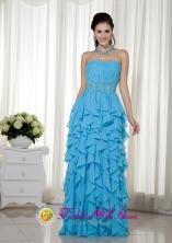 Summer Stylish Aqua Blue Empire Strapless Floor-length Chiffon Beading Dama Dress  In Maunabo Puerto Rico Wholesale  Style MLXN045FOR