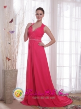 Swan Hill VIC Wholesale Coral Red V-neck Dama   Dresses Chiffon Empire Sweep Beading in Formal party   Style PDHXQ182943FOR