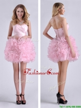 Sweet Ball Gown Ruched Baby Pink Short Dama Dress in Rolling Flowers THPD068FOR