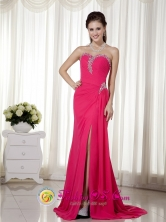 Sweetheart Beading Decorate Brush Train Chiffon Coral Red Dama  Dress For 2013 Orocovis Puerto Rico Wholesale  Style MLXN159FOR