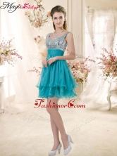 Top Selling Straps Short Sequins Dama Dresses in Teal BMT072-1FOR