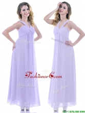 Wonderful Ruched Decorated Bust Ankle Length Dama Dress in Lavender THPD018FOR