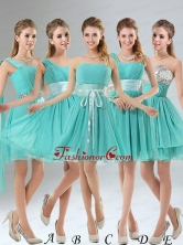 2015 A Line Ruching Lace Up Dama Dress in Aqua Blue BMT002FOR
