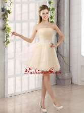 2015 Appliques Strapless A Line Mini Length Dama Dress BMT019EFOR