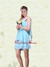 2015 Elegant Ruching One Shoulder Chiffon Dama Dresses BMT017FFOR