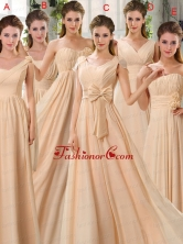 2015 Fashionable Champagne Ruching Chiffon Dama Dresses BMT024FOR