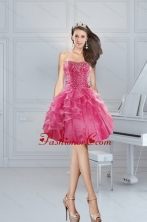 2015 Gorgeous Pink Sweetheart Dama Dresses with Beading and Ruffles XFNAOA31TZBFOR