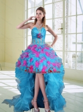 2015 High Low Strapless Ruffled Dama Dresses with Hand Made Flower QDZY464TZBFOR