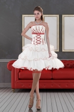 2015 Impressive Strapless Dama Dresses with Embroidery and Ruffle layers  XFNAO415TZBFOR