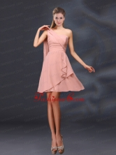 2015 One Shoulder Ruching Chiffon Dama Dresses in Peach BMT028DFOR