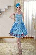 2015 Popular Sweetheart Blue Dama Dresses with Embroidery XFNAOA36TZBFOR