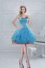 2015 Prefect Ball Gown Baby Blue Beading Dama Dresses for Spring XFNAOA19TZBFOR