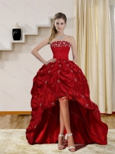 2015 Pretty Strapless Red Dama Dresses with Embroidery and Pick Ups QDZY230TZBFOR
