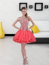 2015 Remarkable Beading Mini Length Quinceanera Dresses in Coral Red QDDTA39003FOR