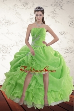 2015 Spring Green High Low Dama Dresses with Ruffles and Beading XFNAO5801TZBFOR