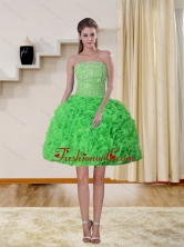 2015 Spring Green Strapless Dama Dresses with Beading and Ruffles QDZY257TZCFOR