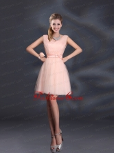 2015 Sweet Belt Mini Length Dama Dresses with V Neck BMT022FFOR