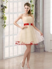 A Line Belt Strapless Dama Dress with Mini Length BMT019AFOR