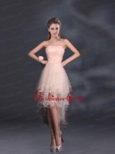 Appliques Strapless Ruffles Organza 2015 Sturning Dama Dresses BMT022DFOR