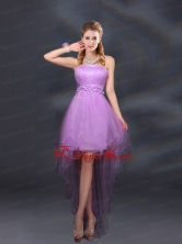 Appliques and Ruffles A Line Strapless Dama Dresses BMT015EFOR