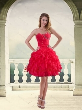 Ball Gown Strapless Red 2015 Dama Dresses with Ruffles and Beading QDZY034-2TZCFOR