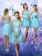Beautiful A Line Aqua Blue Dama Dresses with Appliques BMT062FOR