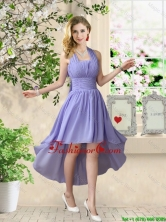 Beautiful Halter Top Ruched Dama Dresses with High Low BMT056EFOR