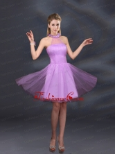 Beautiful Lilac A Line Appliques Dama Dresses with Halter BMT015BFOR