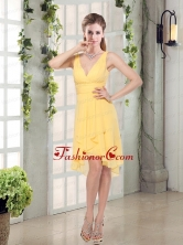 Charming V-neck Yellow Dama Dress Mini Length for Spring BMT007AFOR