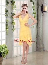 Charming V-neck Yellow Dama Dress Mini Length for Spring BMT007AFOR