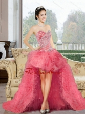 Classical 2015 Appliques and Ruffles Dama Dress in Watermelon QDDTC41003FOR