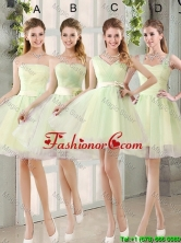 Custom Made Mini Length Dama Dresses in Yellow Green BMT014-1FOR
