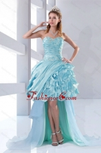 Discount Beaded Sweetheart High Low Ruffled Dama Dresses for 2015 XFNAO158TZBFOR