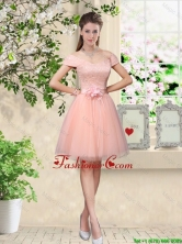 Discount Off the Shoulder Hand Made Flowers Dama Dresses in Baby Pink BMT042DFOR
