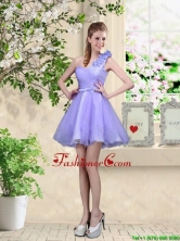 Elegant A Line Hand Made Flowers Dama Dresses with One Shoulder BMT054FOR
