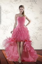 Exclusive Beaded High Low 2015 Dama Dresses with Ruffles XFNAO744TZBFOR