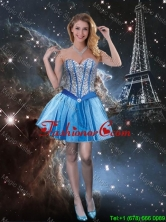 Exquisite Sweetheart Beaded Blue Dama Dresses with Mini Length  QDDTA89003FOR