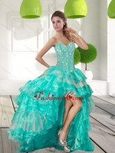 Fashionable Beading and Ruffled Layers High Low Dama  Dresses for 2015 QDDTA40003FOR