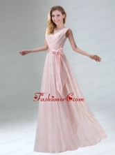 Fashionable Belt Ruching Chiffon Dama Dress with Bowknot BMT009AFOR