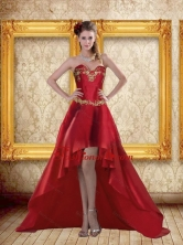 Fashionable High Low Sweetheart Wine Red Beading Dama Dresses ZY775TZBFOR
