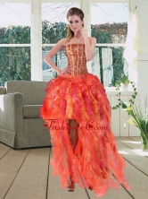 High Low Multi Color Strapless Dama Dresses with Beading and Ruffles QDZY251TZBFOR