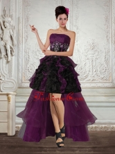 High Low Multi Color Strapless Dama Dresses with Ruffles and Embroidery QDZY027TZBFOR