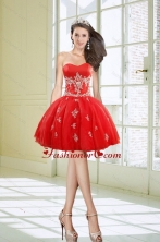 Hot Sale Ball Gown Sweetheart Appliques Red Dama Dresses for 2015 XFNAOA38TZBFOR