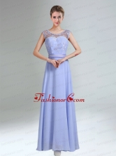 Lavender Scoop Belt and Lace  Empire 2015 Dama Dress BMT029DFOR