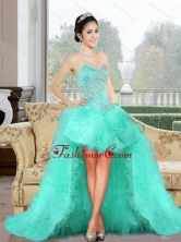 Luxurious 2015 High Low Dama Dress with Appliques and Ruffles QDDTC41003-1FOR