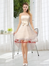 Luxurious Strapless A Line Dama Dress with Belt and Lace BMT021AFOR