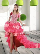 Most Popular Coral Red High-low Dama Dresses with Beading and Ruffled Layers QDDTA17002FOR