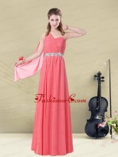 One Shoulder Beaded Long Dama Dress with Ruches BMT008AFOR