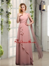 One Shoulder Empire 2015 Dama Dresses with Ruching BMT013DFOR